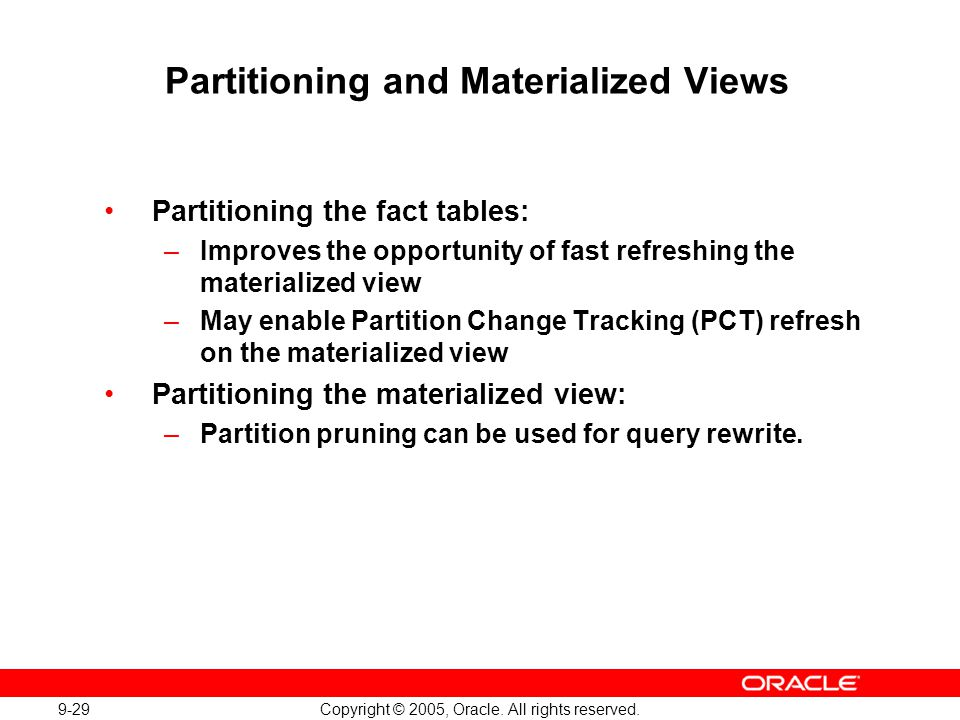 Partitioning and Materialized Views