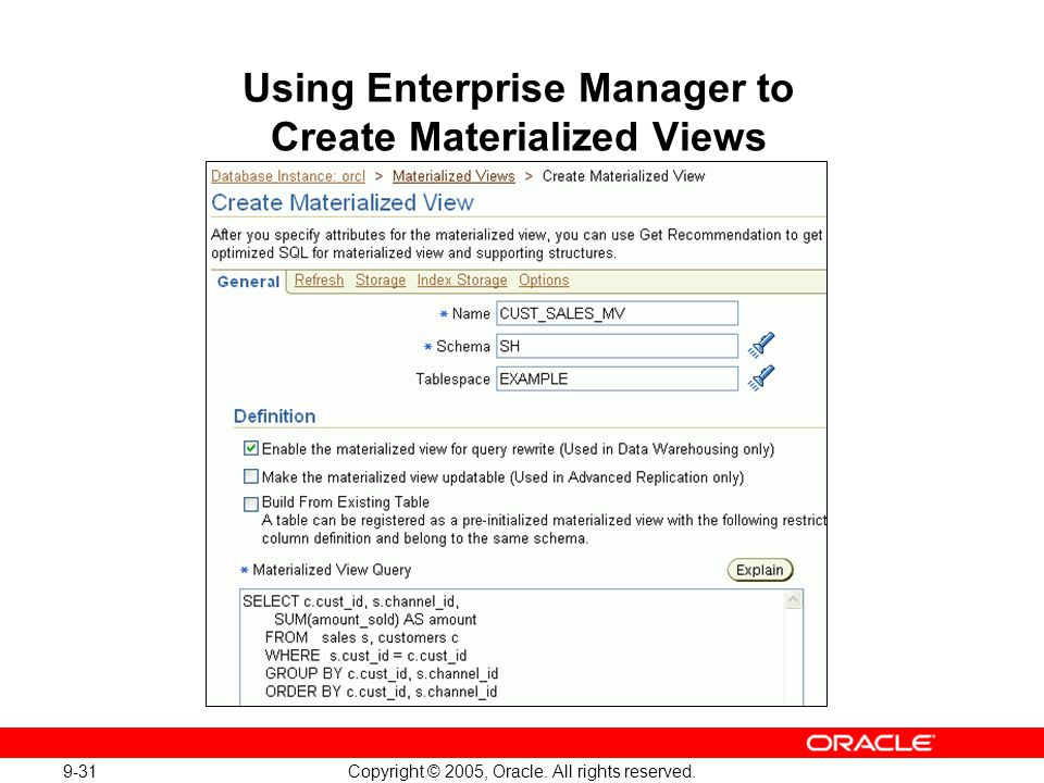 Using Enterprise Manager to Create Materialized Views