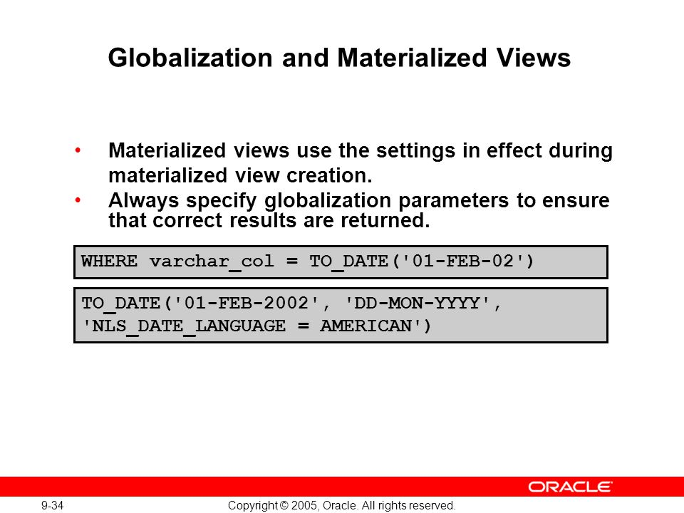 Globalization and Materialized Views