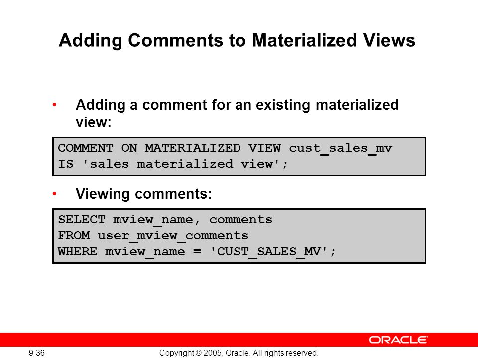 Adding Comments to Materialized Views