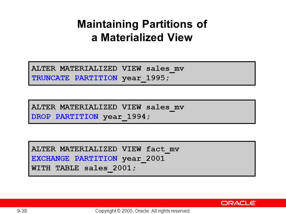 Maintaining Partitions of a Materialized View