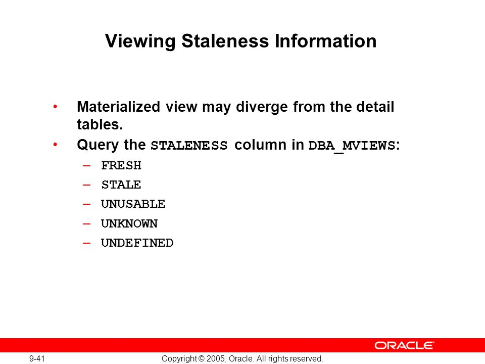 Viewing Staleness Information