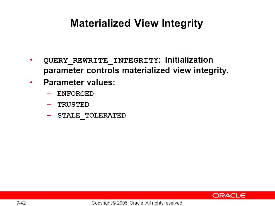Materialized View Integrity