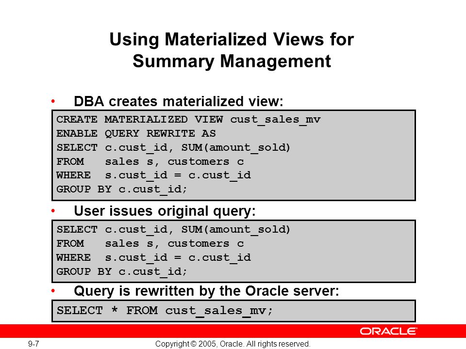 Using Materialized Views for Summary Management