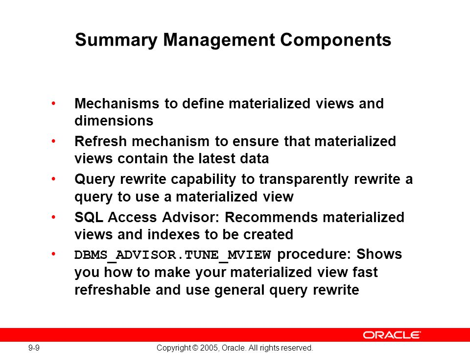 Summary Management Components