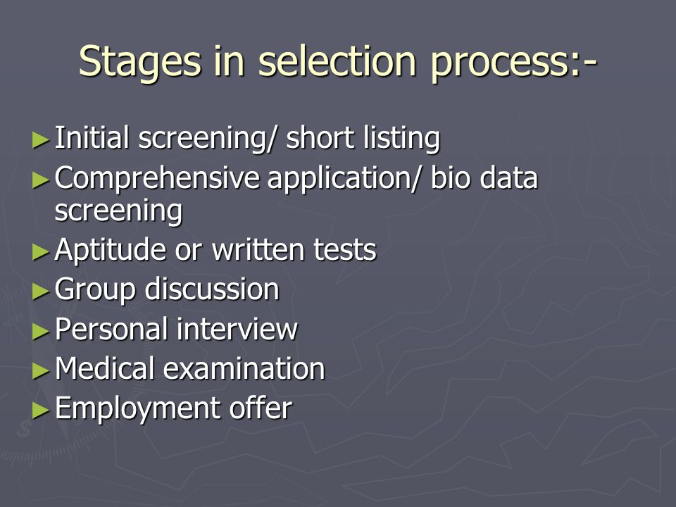 Stages in selection process:-