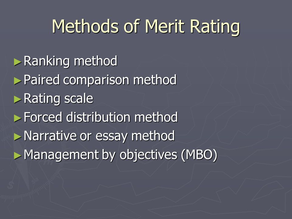 Methods of Merit Rating