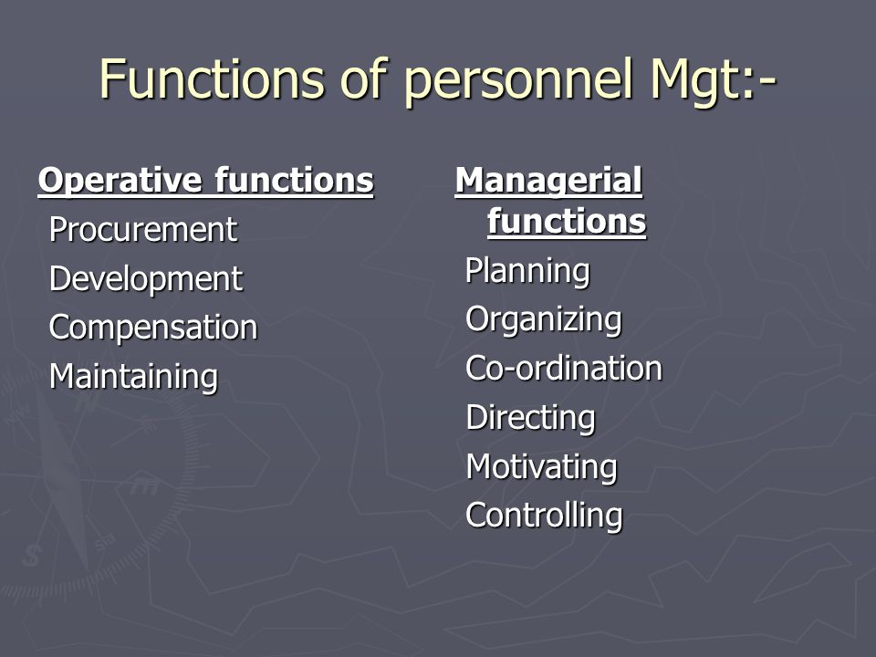 Functions of personnel Mgt:-