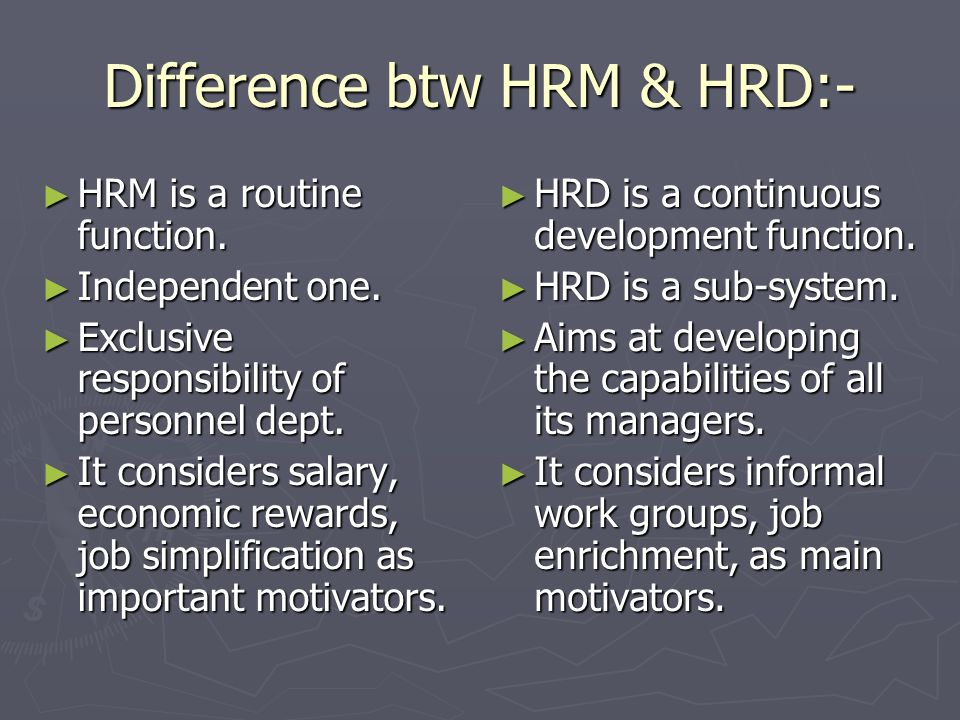 Difference btw HRM & HRD:-