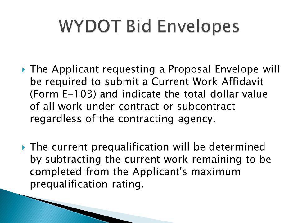 WYDOT Bid Envelopes