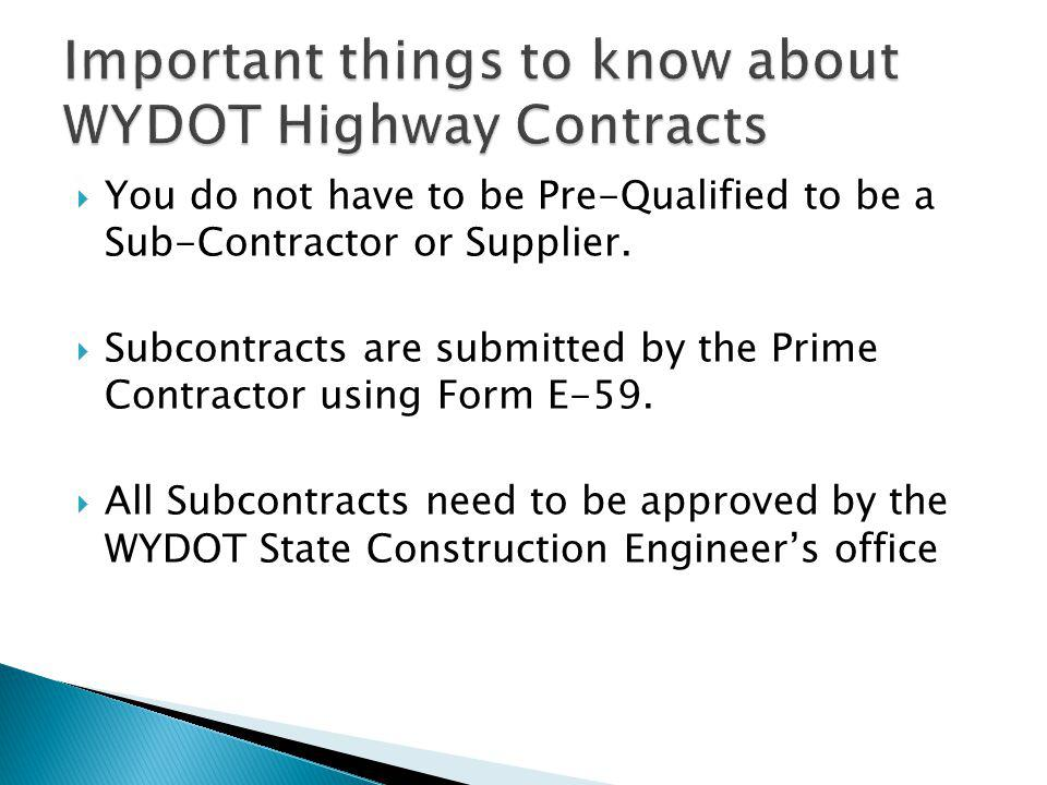 Important things to know about WYDOT Highway Contracts