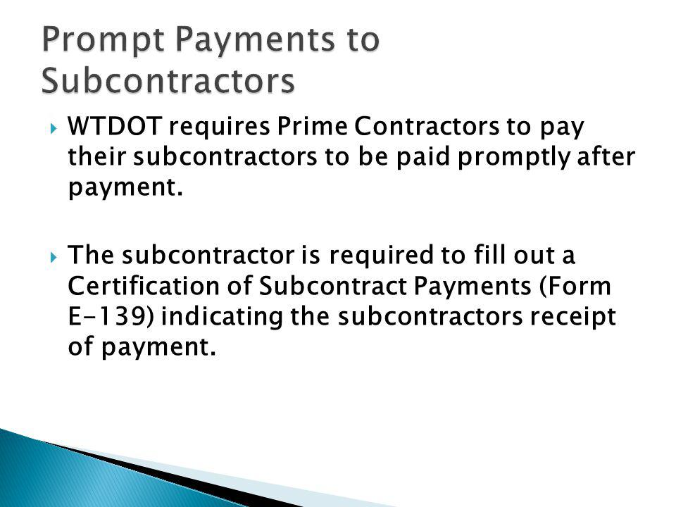 Prompt Payments to Subcontractors
