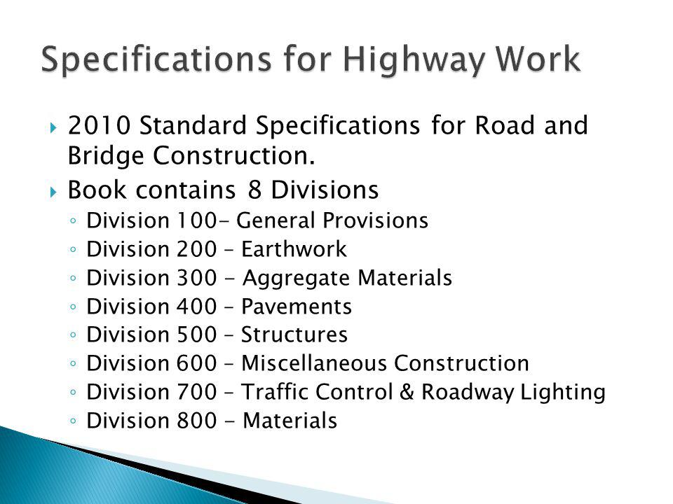 Specifications for Highway Work