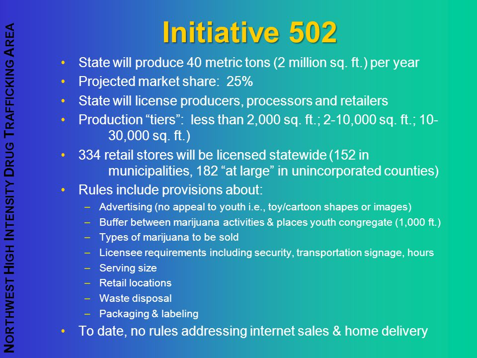 Initiative 502 State will produce 40 metric tons (2 million sq. ft.) per year. Projected market share: 25%