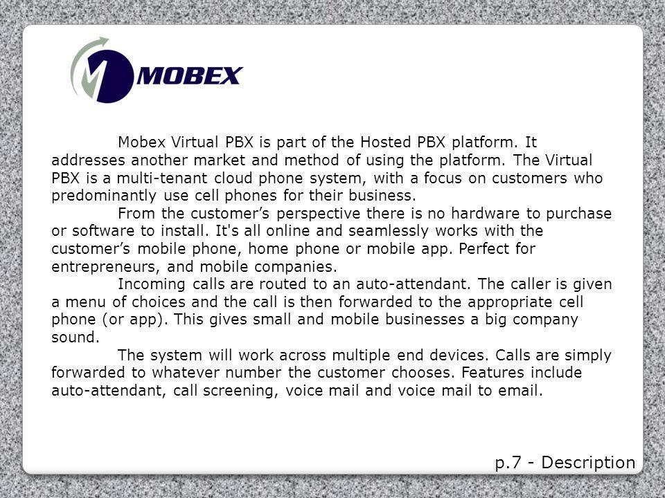 Mobex Virtual PBX is part of the Hosted PBX platform