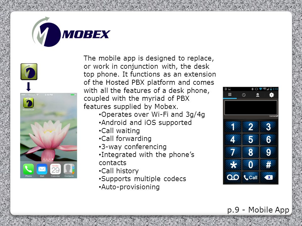 The mobile app is designed to replace, or work in conjunction with, the desk top phone. It functions as an extension of the Hosted PBX platform and comes with all the features of a desk phone, coupled with the myriad of PBX features supplied by Mobex.