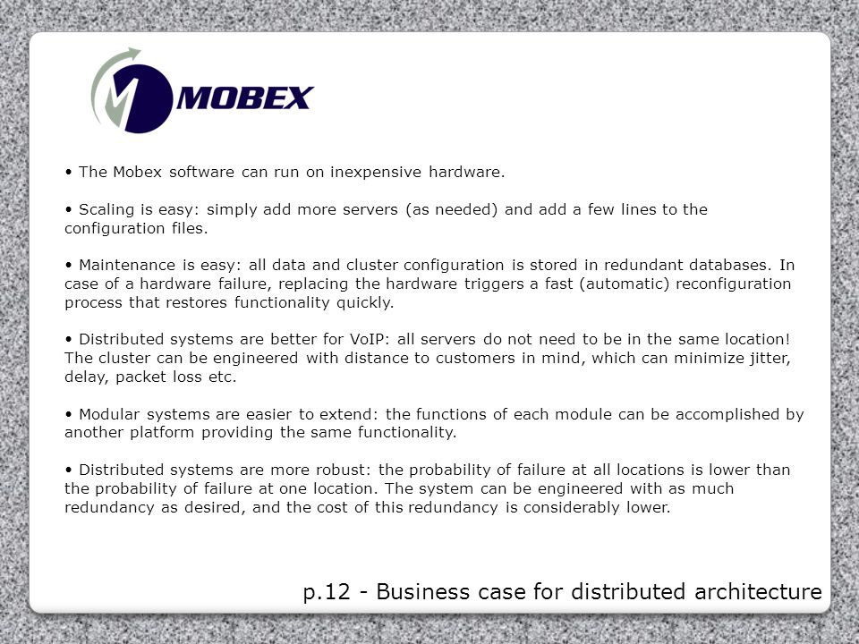 p.12 - Business case for distributed architecture
