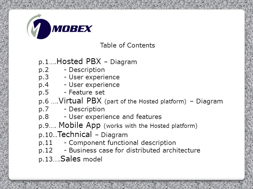 Table of Contents p.1….Hosted PBX – Diagram. p.2 - Description. p.3 - User experience. p.4 - User experience.