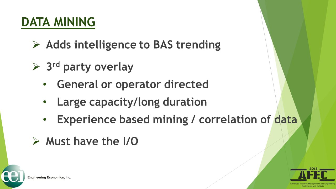 DATA MINING Adds intelligence to BAS trending 3rd party overlay