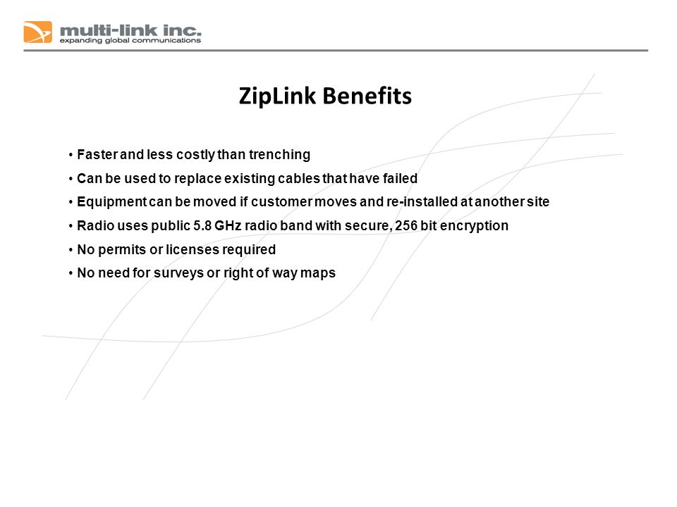 ZipLink Benefits Faster and less costly than trenching