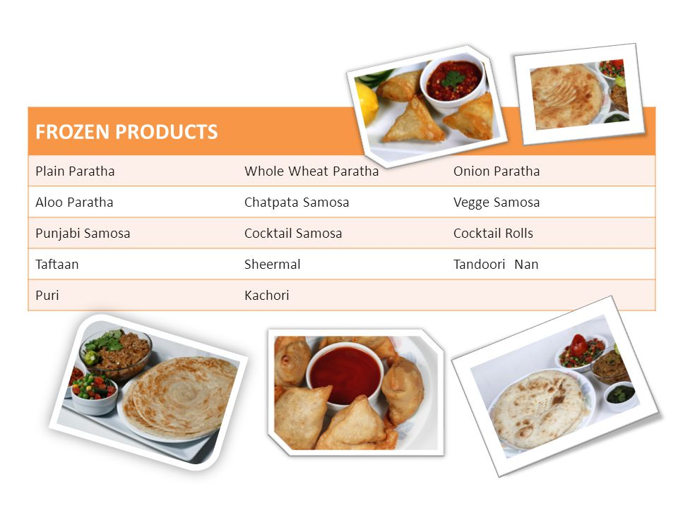 FROZEN PRODUCTS Plain Paratha Whole Wheat Paratha Onion Paratha