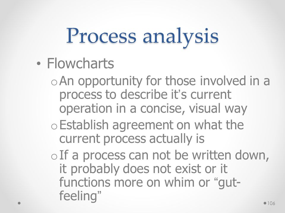 Process analysis Flowcharts