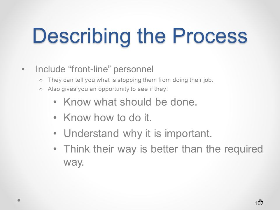 Describing the Process