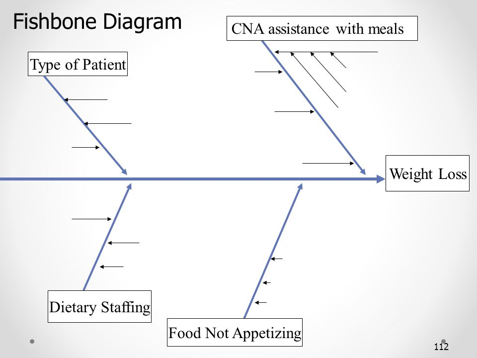 Fishbone Diagram CNA assistance with meals Type of Patient Weight Loss