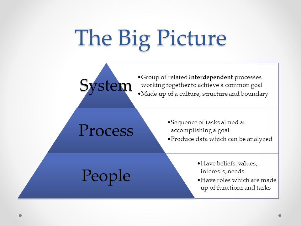 The Big Picture System Process People