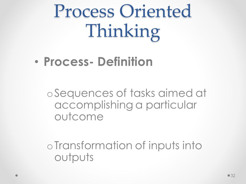 Process Oriented Thinking