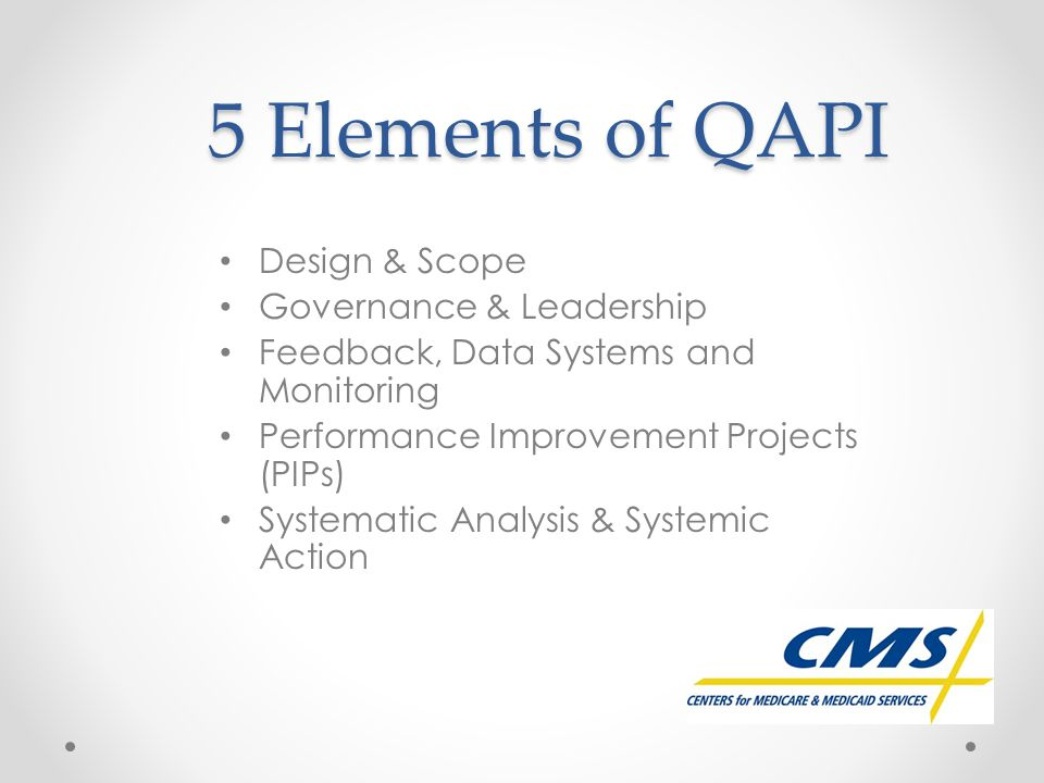 5 Elements of QAPI Design & Scope Governance & Leadership