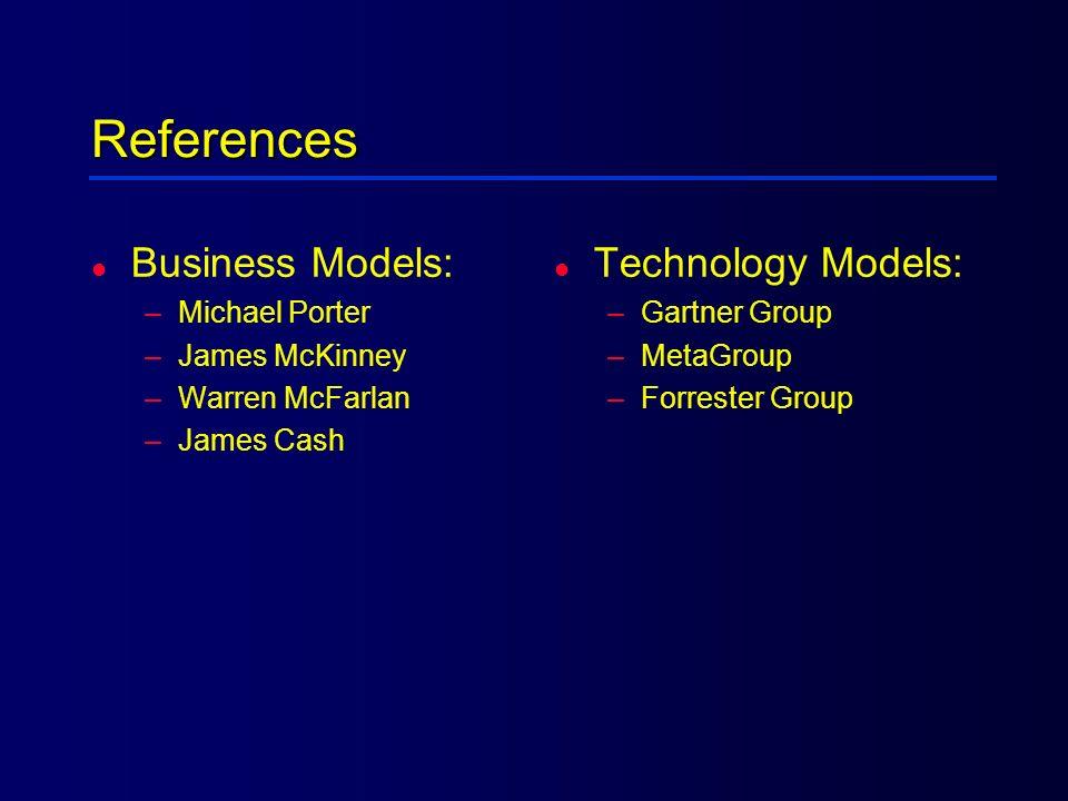 References Business Models: Technology Models: Michael Porter