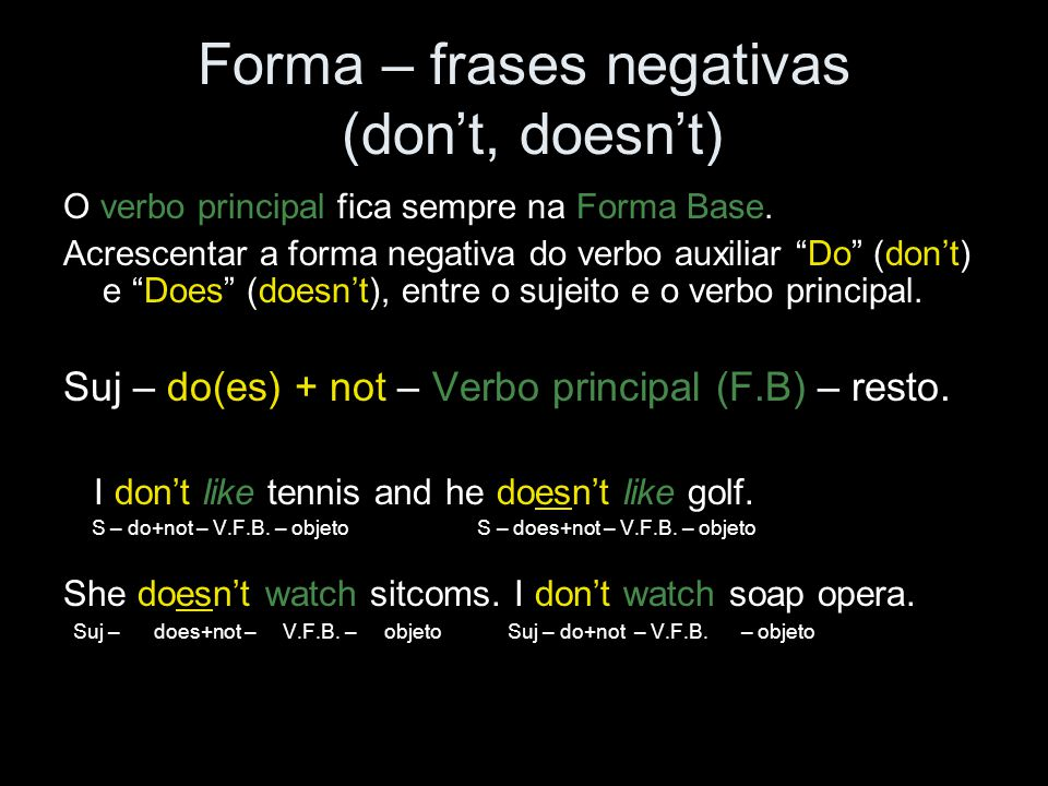 Forma – frases negativas (don't, doesn't)