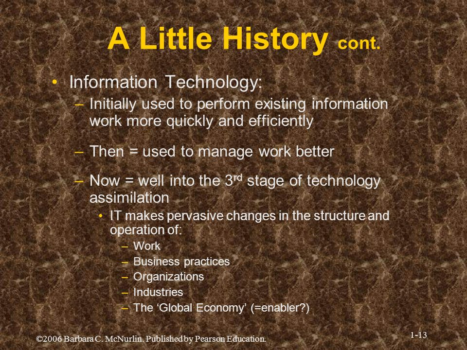 A Little History cont. Information Technology: