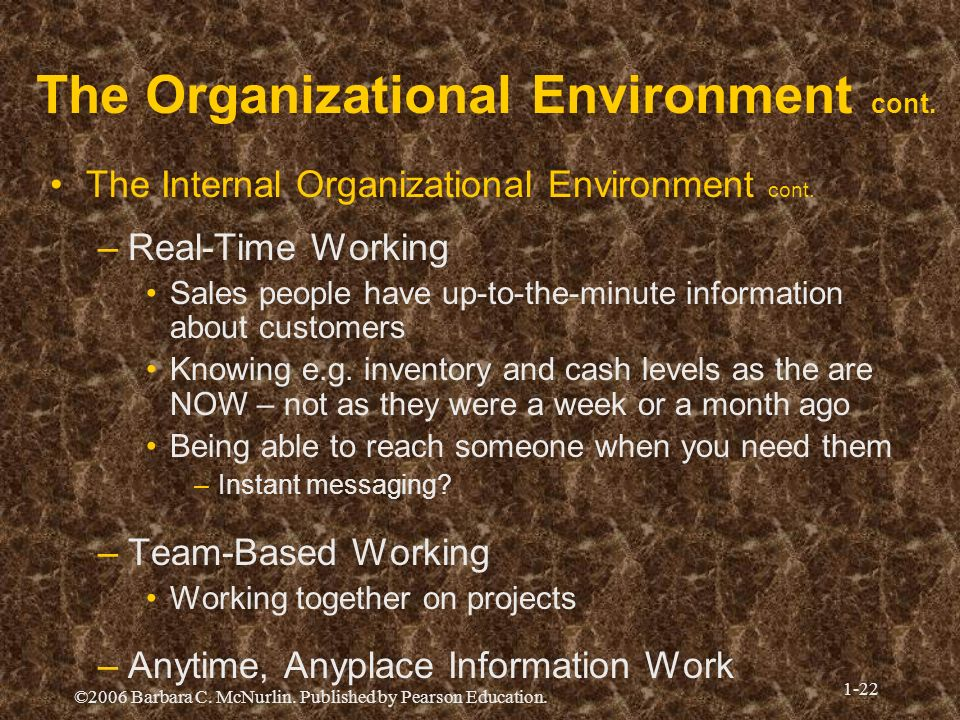 The Organizational Environment cont.