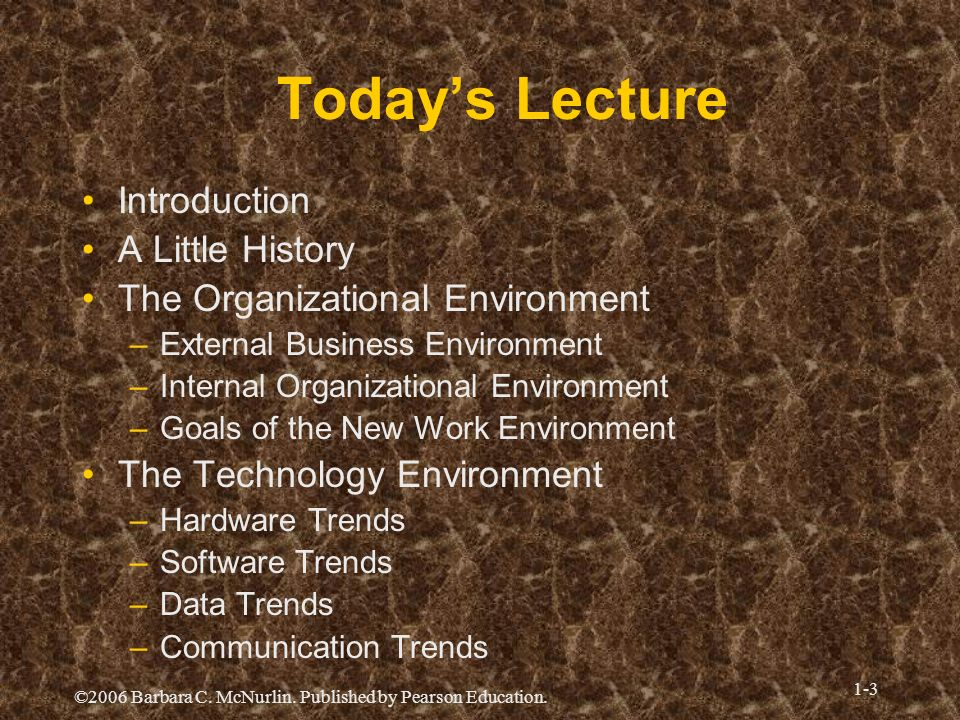 Today's Lecture Introduction A Little History