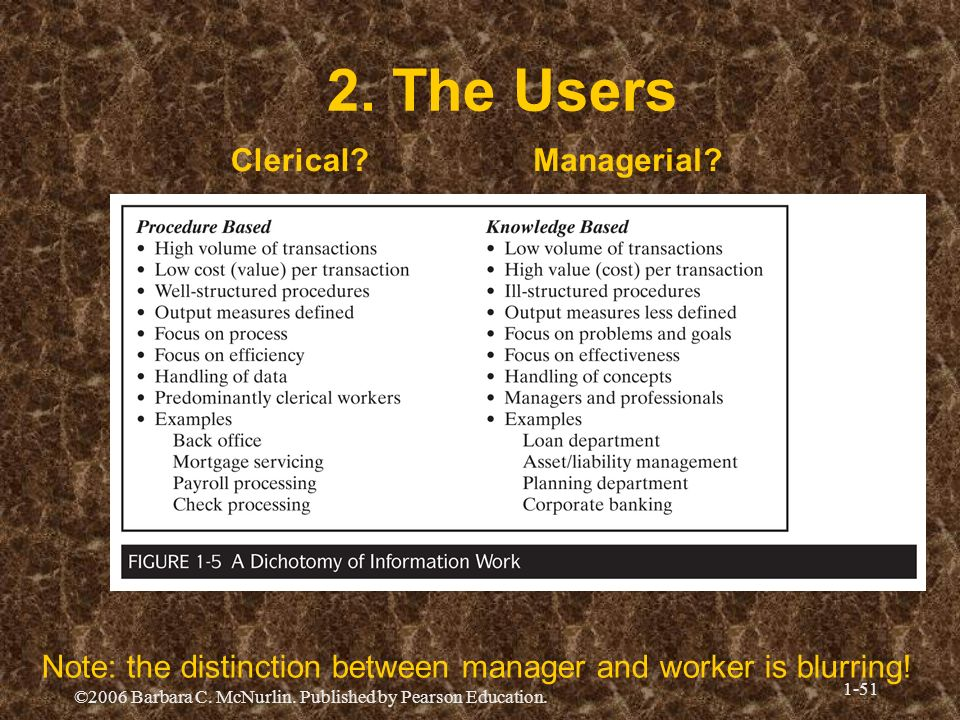 2. The Users Clerical Managerial