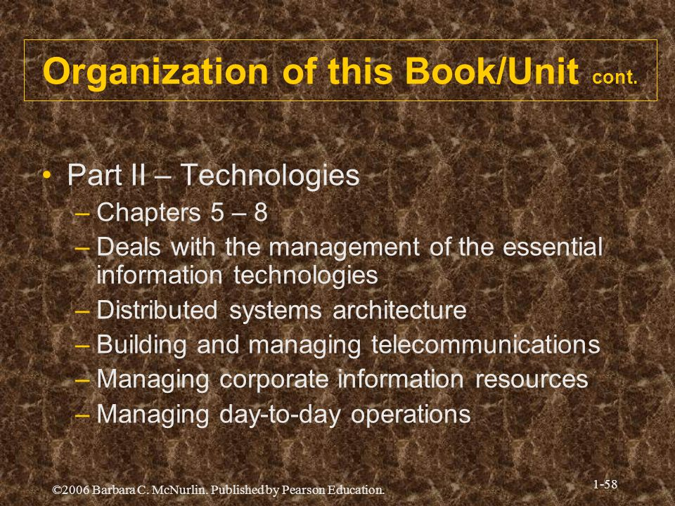 Organization of this Book/Unit cont.