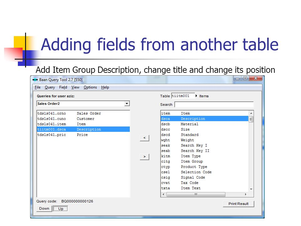 Adding fields from another table