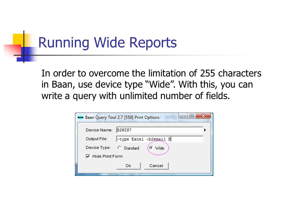 Running Wide Reports