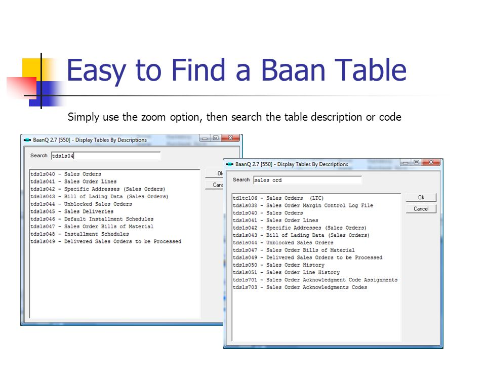 Easy to Find a Baan Table
