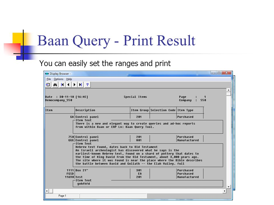 Baan Query - Print Result