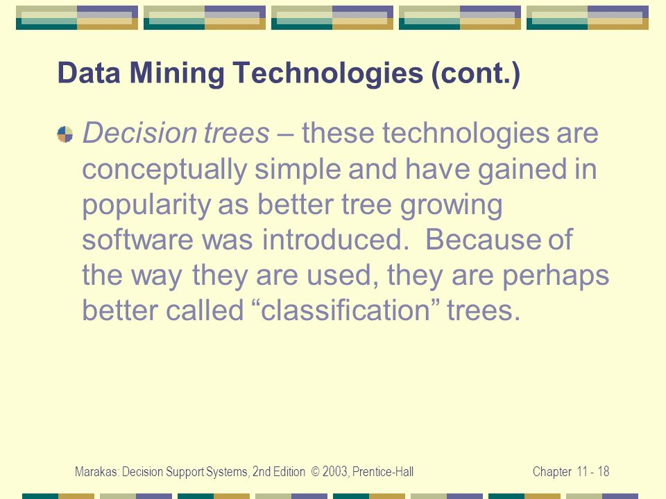 Data Mining Technologies (cont.)