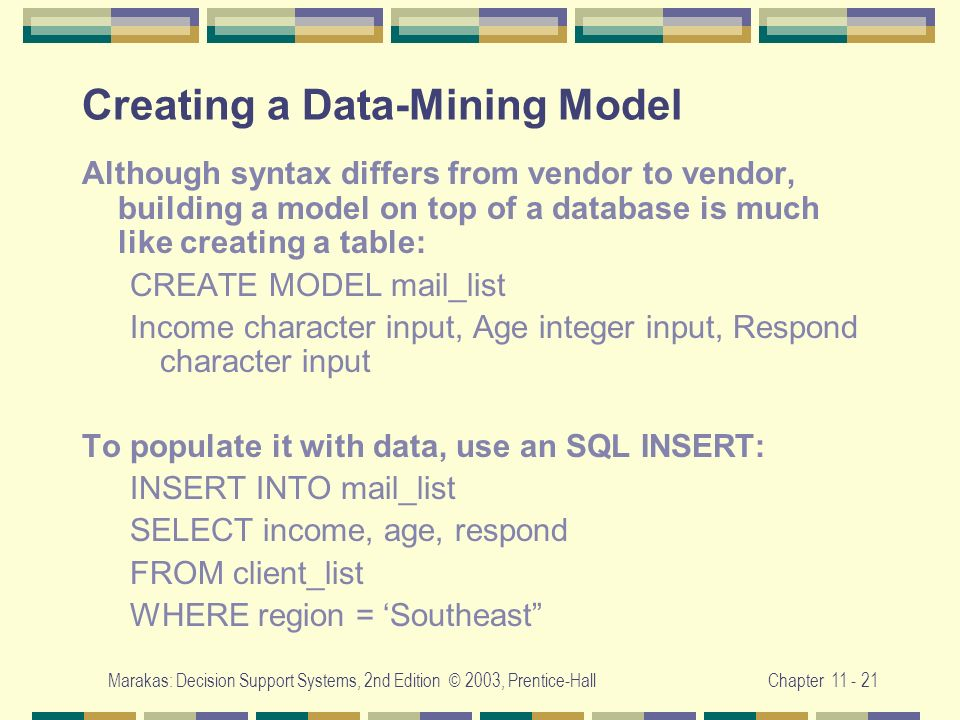 Creating a Data-Mining Model