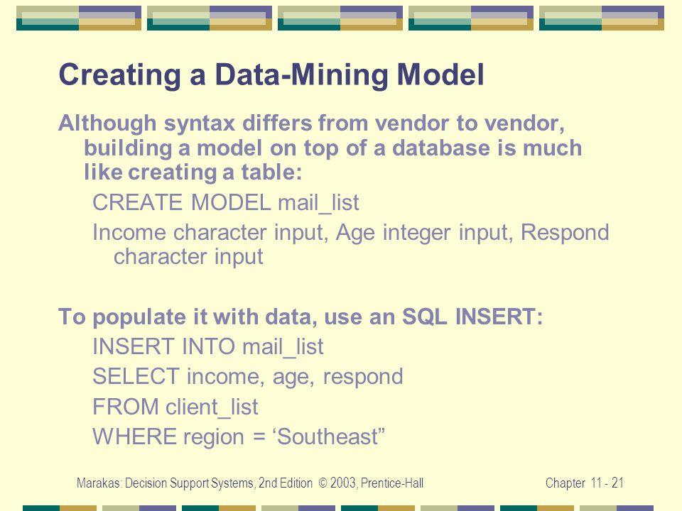 Creating a Data-Mining Model