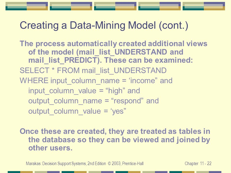 Creating a Data-Mining Model (cont.)
