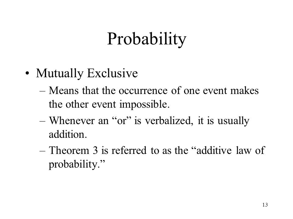 Probability Mutually Exclusive
