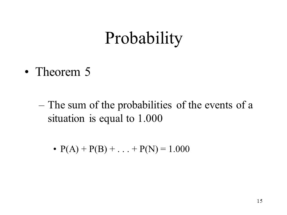 ProbabilityTheorem 5.The sum of the probabilities of the events of a situation is equal to 1.000.