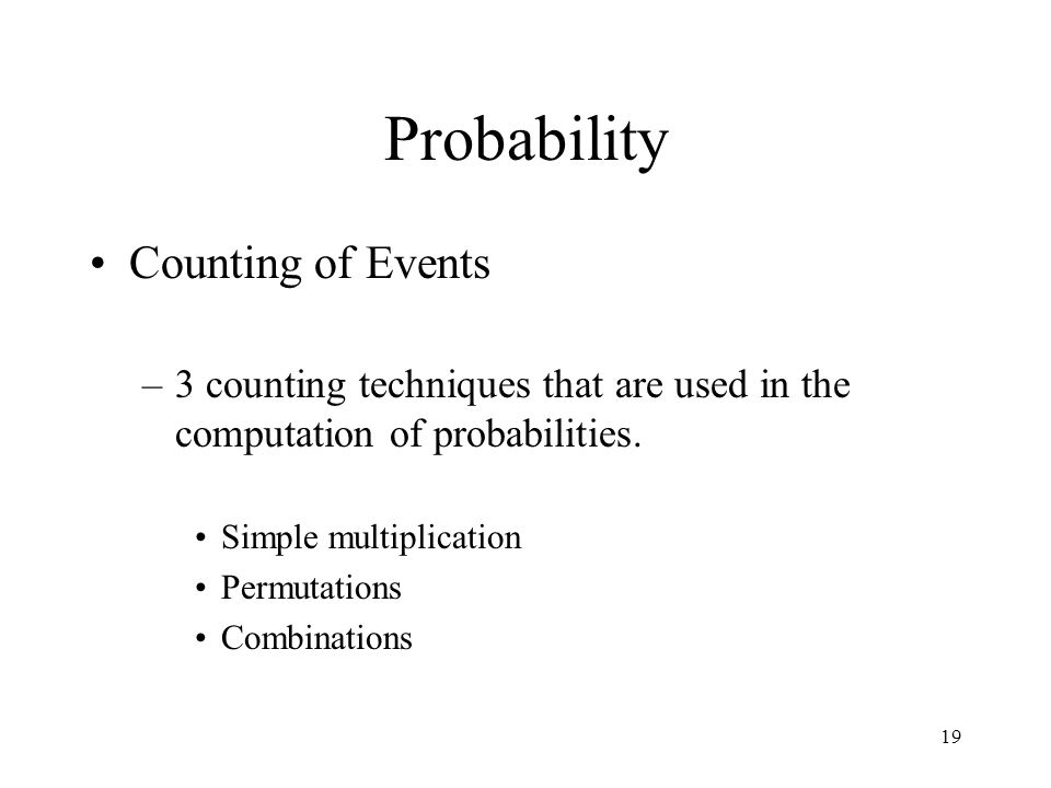 Probability Counting of Events