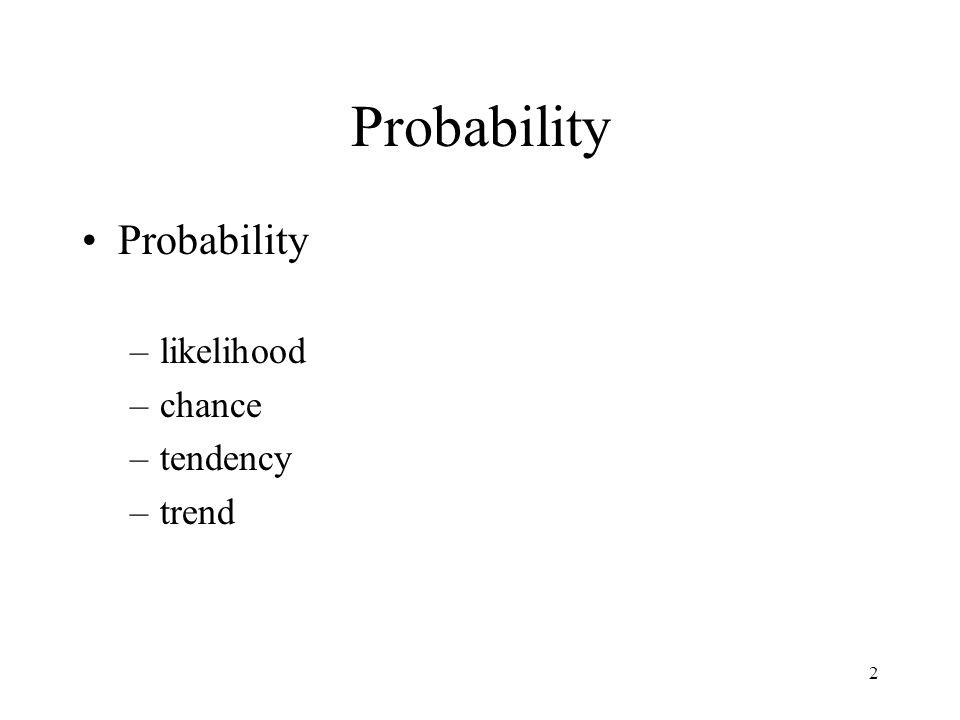Probability Probability likelihood chance tendency trend